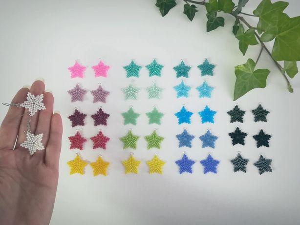 Kolczyki gwiazdki ze szklanych koralików - 20 kolorów - handmade