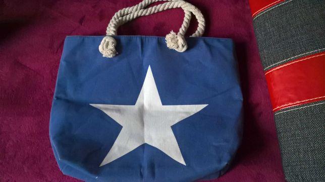 Modna torba lniana/plażowa z gwiazdą