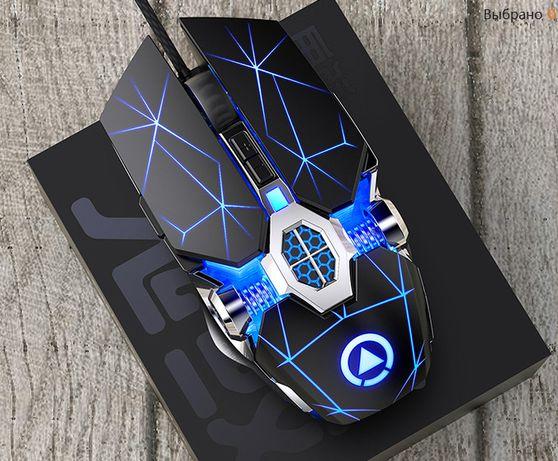 Игровая проводная мышь мышка бесшумная 6 кнопок с подсветкой (новая)