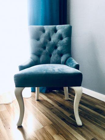 4 fotele / krzesla w kolorze granada / szary błękit glamour