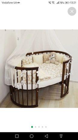 Детская круглая овальная кроватка трансформер