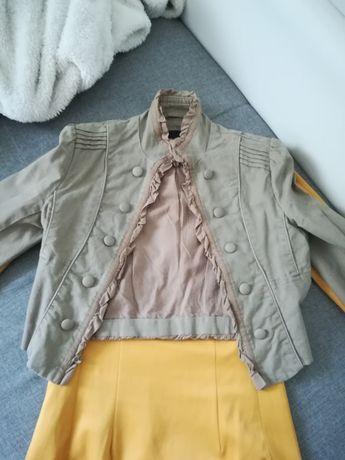 Żakiet marynarka damska narzutka krótka khaki 34 XS