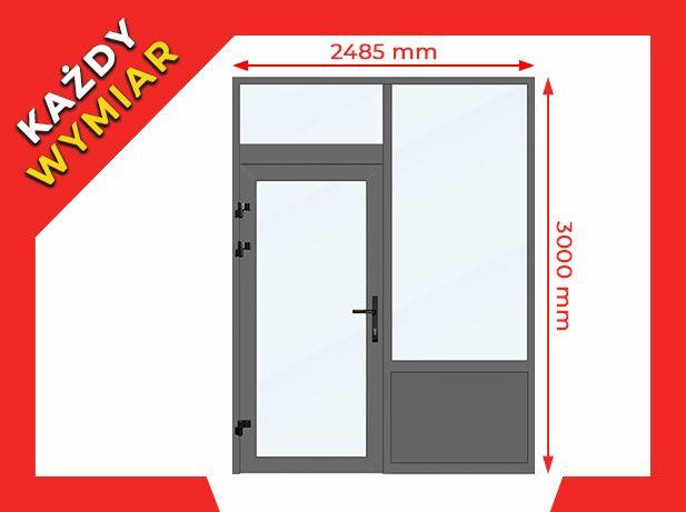 Drzwi Okna Przeszklone 2485x3000 mm Witryna Aluminiowa