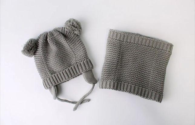 Вязаная шапка и хомут серый набор с утеплением  внутри