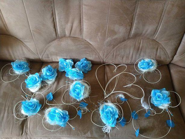 dekoracje na auto niebieskie, ślub
