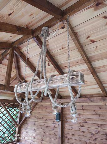 Lampa rustykalna drewno juta belka