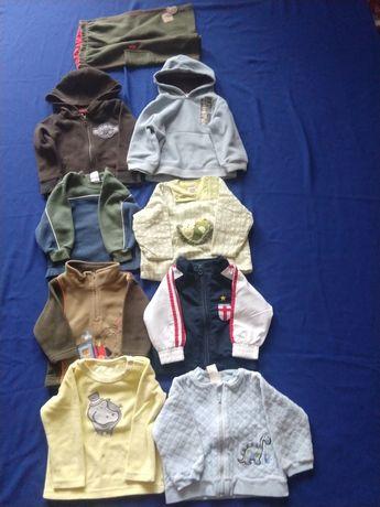 Ubranka - bluzy i jeden kompletny dres, rozmiar 74-80 wiek 1-1,5 roku