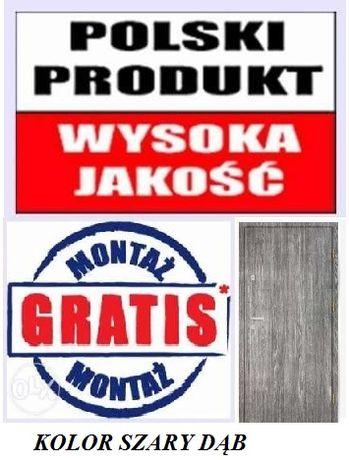 Polskie drzwi antywyważeniowe do bloku, z gwarancją! Kolor szary dąb