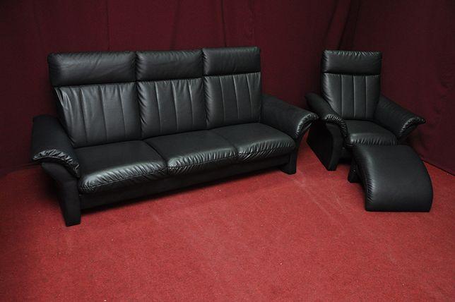 Гарнітур, диван, крісло та пуф. Шкіра-Еко. Розкладний диван. БУ
