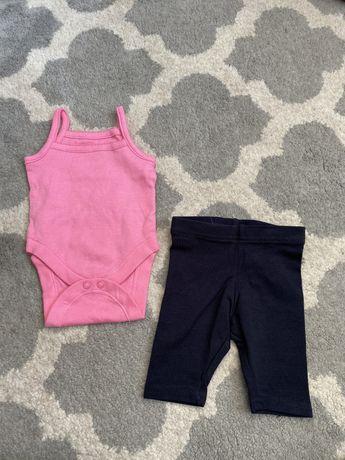 Zestaw komplet legginsy body różowe primark 62 cm 0-3 miesiąca basic