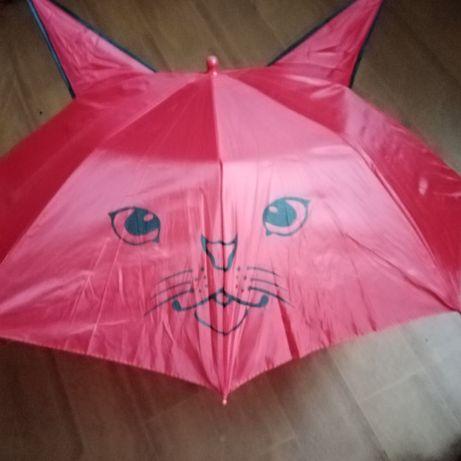 Parasol przeciwdeszczowy dziewczęcy czerwony.