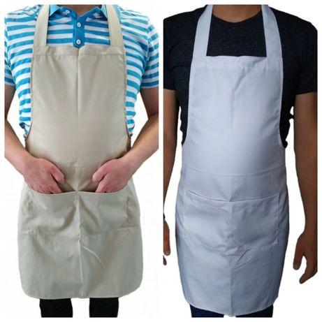 Бежевый белый фартук повара официанта продавца, продажа спецодежды