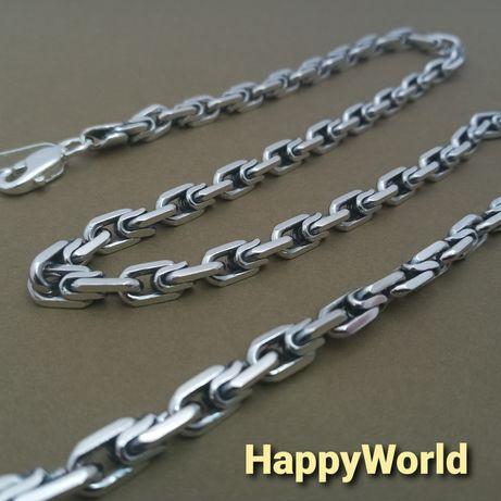 Серебряная цепочка якорь цепь якорная граненная мужская цепочка