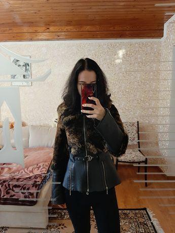 Кожанка кожаная курточка с мехом мутон