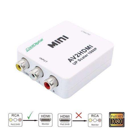 Conversor RCA Video Conversor + áudio e vídeo (AV) para HDMI até 1080P