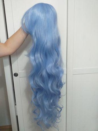 Wig peruka błękitna długa