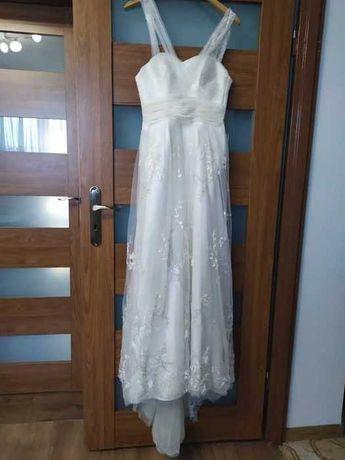 Okazja! Piękna suknia ślubna w stylu boho vintage kolor ecru rozmiar S
