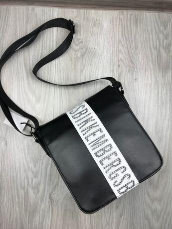 Мужская кожаная сумка на плечо мессенджер планшетка Bikkembergs c008