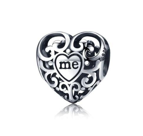 Charms PANDORA srebro 925 ażurowe serce miłość ja