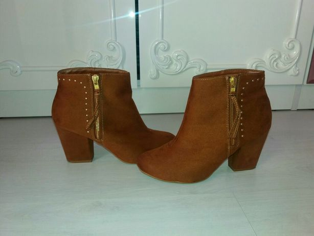 Ботинки ботики сапоги замш замшевые 24,5 коричневые New Look демисезон