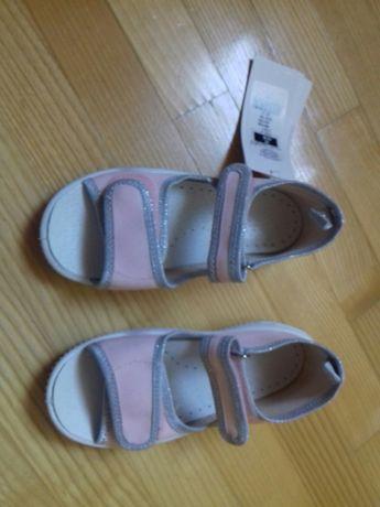 Nowe sandałki dziewczęce Smyk z metką,skórzana wkładka