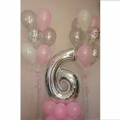 Цифры фольгированные на День Рождения 76 см (фотозона, кульки,декор)