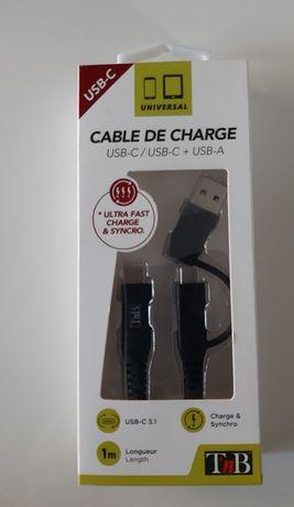 USB kabel szybkiego ładowania + przejściówka