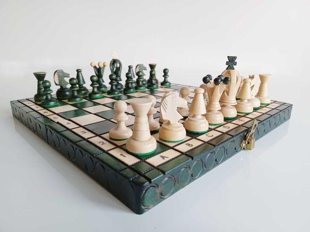 Szachy drewniane zielone! Królewskie 29 x 28 cm Polskie