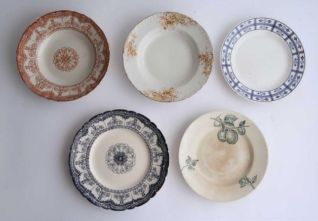 Lote com 5 pratos em faiança antiga Portuguesa (ref. 2)