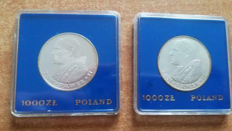Moneta monety srebro srebrne srebrna 1000 zł Jan Paweł II lustrzanka.