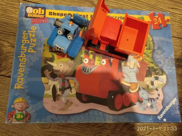 Puzzle Ravensburger + pojazdy Bob budowniczy