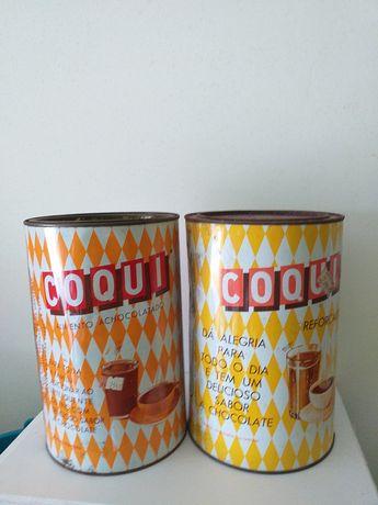 2 latas grandes antigas de coqui