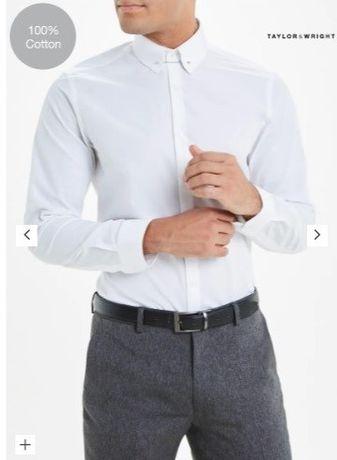 Рубашка белая Matalan slim, размер L ворот 42 см, 16 ½