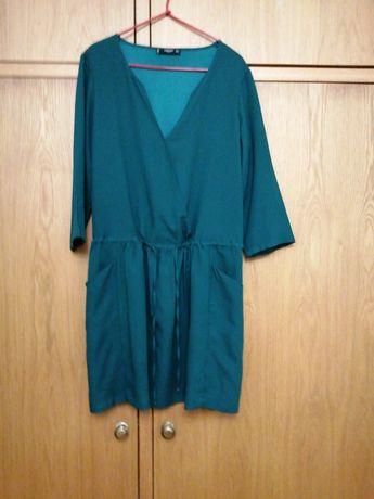 Vestido verde, meia manga