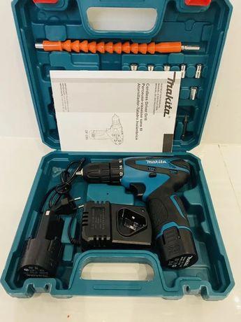 Аккумуляторный шуруповерт makita 330 с набором бит,сверл,гибкий вал