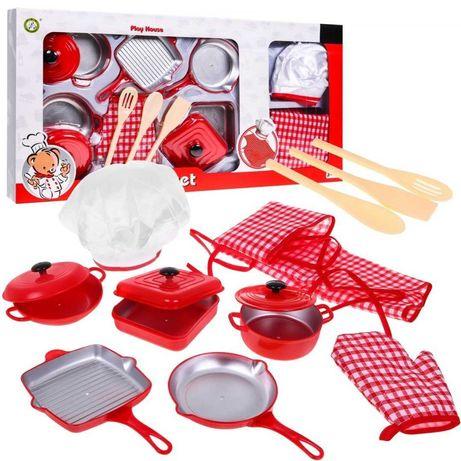 DUŻY zestaw kuchenny fartuszek Akcesoria Kuchenne Garnki Dla Dzieci