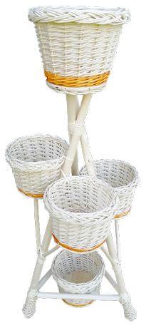 KWIETNIK wiklinowy, stojak z wikliny, pełny wyplot (5 doniczek), ecru