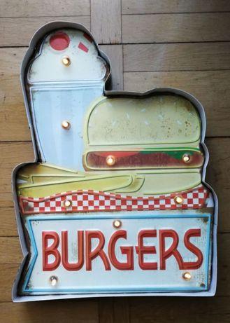Wytłaczany podświetlany metalowy szyld 3D Burgers USA PUB BAR DINNER