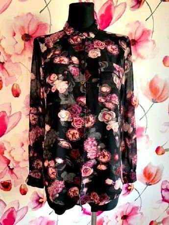 marks&spencer koszula mgiełka modny wzór kwiaty róże hit roz.36