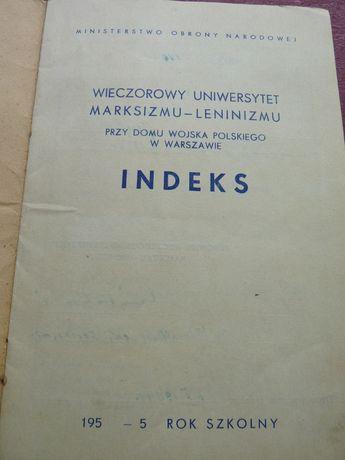 Wieczorowy Uniwersytet Marksizmu i Leninizmu INDEKS