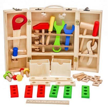 Skrzynka z narzędziami majsterkowicz narzędzia drewniane +GRATIS