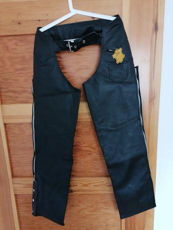 Czapsy skórzane spodnie motocyklowe chopper cruiser custom drag