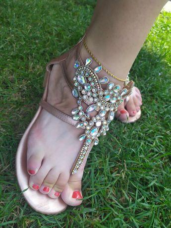 Sandałki sandały damskie kryształy japonki rzymianki złote cyrkonie