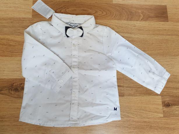 Koszula Mayoral biała z muchą. Nowa rozmiar 74 / 75cm