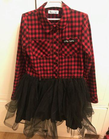 Sukienka krata z tiulem 134 Mała Mi