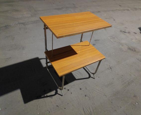 Stare biurko stolik RTV metalowo drewniany PRL