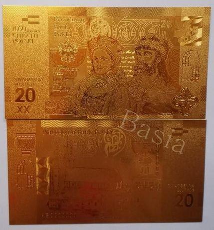 Złoty Banknot 20 zł 1050 Rocznica Chrztu Polski Mieszko Dobrawa ZŁOTO