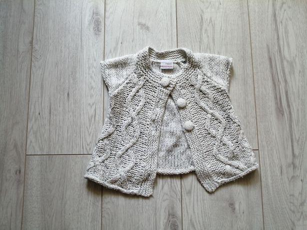Sweterek sweter narzutka Next szary srebrna nitka 74cm 5zl