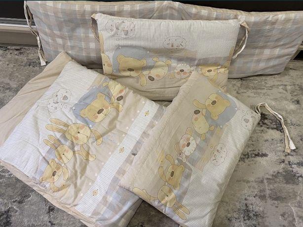 Бортики на детскую кроватку + постельное белье
