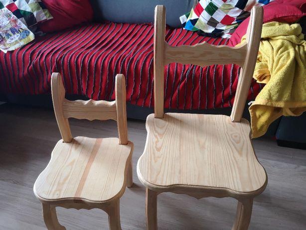 Krzesła dziecięce z drewna sosnowego 2 szt.